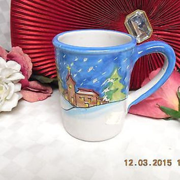 "Vietri Pottery  Winter Wonderland  Italy hand painted  Mug 4.1/2"" tall #2"