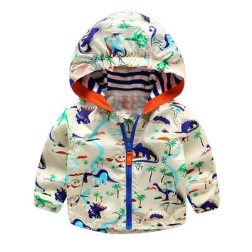 Baby Boys Jackets Children Hooded Dinosaur Printed Outerwear 2-6Y Kids Windbreaker Clothes SM6