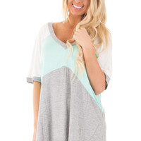 Mint Color Block Dolman Top