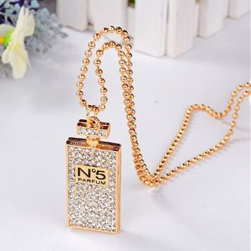 New Lovely Gold Silver Fashion Statement Necklace Perfume Bottles Pendants Fine Jewelry Costume Jewelry For Women For Gift