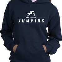 Horse Jumping What a Feeling Horse and Rider Navy Hoodie