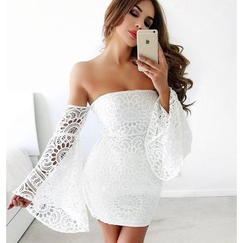 Fashion Women's Off Shoulder Lace Wedding Dress Long Sleeve Bodycon Bandage Dresses