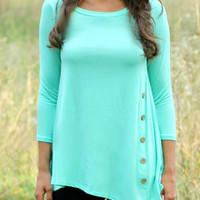 Blue Asymmetrical Long Sleeve T-shirt