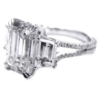 Engagement Ring - Three Stone Emerald cut Diamond Vintage Style Split Band Engagement Ring For Large Diamonds, 1.62 tcw - ES605