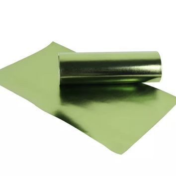 Metallic lime green smooth faux leather fabric sheet