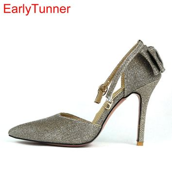 2017 Brand New Hot Sexy Black Gold Silver Women Sandals High Stiletto Heel Lady Sparkly Party Shoes EMS25 Plus Big Size 12 31 47