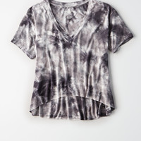 AE Soft & Sexy Oversized V-Neck Crop Tee, Gray