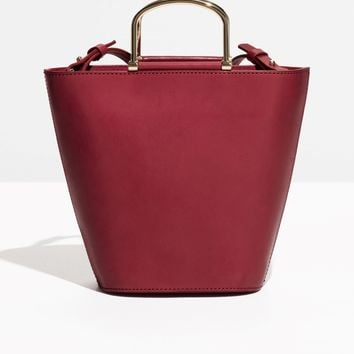 & Other Stories | Leather Bucket Bag | Burgundy