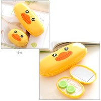 JAVOedge Yellow Duck Contact Lens Travel Kit + Eyeglass Case Set and Bonus Free Soft Microfiber Lens Cleaning Cloth