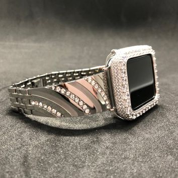 Apple Watch Band 38mm 42mm Series 1 2 3 Women's Men's Silver Rhinestone Crystal / Case Cover Bezel Iced Out 2mm Lab Diamond Iwatch Bling