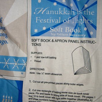 Fabric book panel Hanukkah Menorah Jewish holiday  cotton quilting sewing material by the yard 1yd HTF