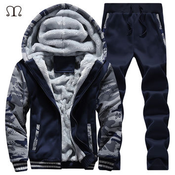winter men sweat suits fleece warm mens tracksuit set casual jogger suits sportsuit cool jacket pants and sweatshirt set 2017