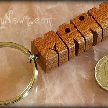 Alexandrian Laurel Wood Keychain - Any Name Carved to Order