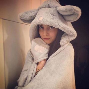 VONE05 Cute Rabbit/Mouse Hooded Keep warm Blanket Plush Cloak Lovely shawl Comfortable Home