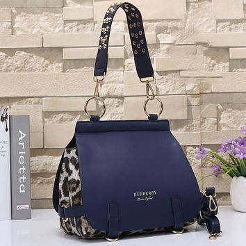 Perfect Burberry Women Leopard Print Leather Satchel Tote Shoulder Bag Crossbody