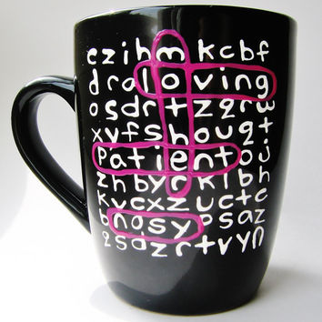 Father's Day Personalized Word Search Ceramic Mug MMMug Black and Dark Purple