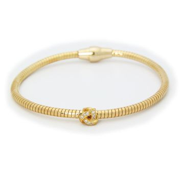 Sparkling Love Knot Tubo Gas Bracelet in Gold Plated Sterling Silver