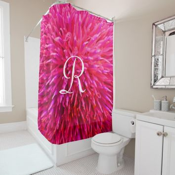 Pink Abstract Shower Curtain with White Monogram