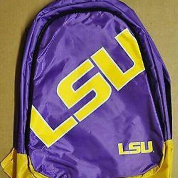 LSU Tigers BackPack / Back Pack Book Bag NEW NCAA - TEAM COLORS BIG LOGO