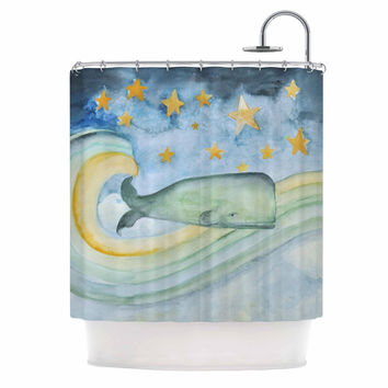 """Jennifer Rizzo """"Swimming WIth The Stars"""" Illustration Animals Shower Curtain"""