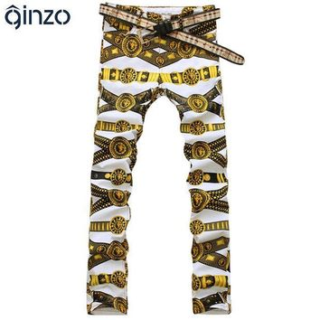 273cad47391 CREYU3C Men s slim colored drawing flower print jeans Male gold