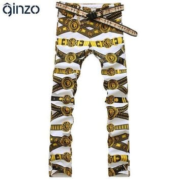 CREYU3C Men's slim colored drawing flower print jeans Male gold lion painted denim pants trousers Free shipping