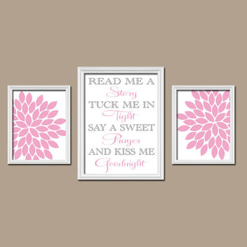 Pink Gray Read Me a Story Kiss Me Goodnight Quote Flower Burst Set of 3 Trio Prints Decor WALL ART Girl Baby Nursery Crib Bedroom