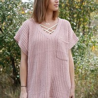 V-Neck H-Lo Sweater - Pink