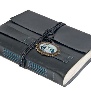 Large Black Faux Leather Journal with Lined Paper and Cameo Bookmark