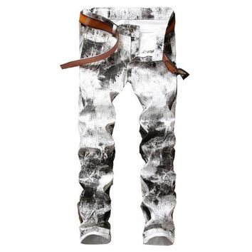Mens Printed Jeans brand Pants Punk Style Gothic Black Painted skinny straight White Jeans