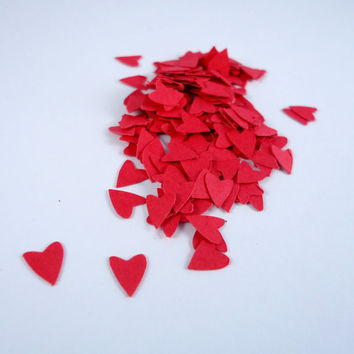 Mini red hearts die cuts, tiny red hearts, red paper hearts, ephemera, confetti, 200 pieces