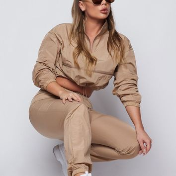 Eastside Wind Breaker Two Piece Set Tan