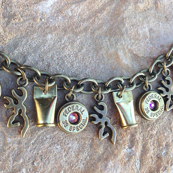 Bullet jewelry. Hunting / country charm bracelet with bullet casings and browning deer