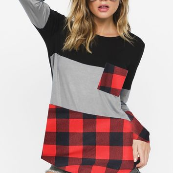 Mix n Match 3 Block Knit Top with Front Pocket - Black/H. Grey/Red