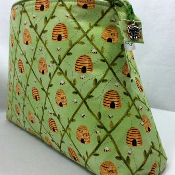 Knitting Project Bag, Bee Project Bag, Sock Knitting Project Bag, Zippered Project Bag, Wedge Bag, Bee Fabric, Bee Hive