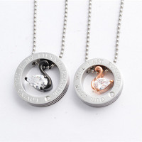 2014 new fashion rose gold black lovers 316L stainless steel CZ stone swans love circles couple pendant necklace jewelry SP0328