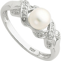 6mm Cultured Button Pearl and Diamond Ring in Sterling Silver and Rhodium | Meijer.com