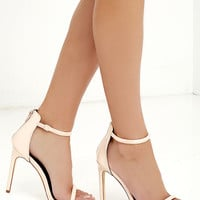 Keen Eye Nude Patent Ankle Strap Heels