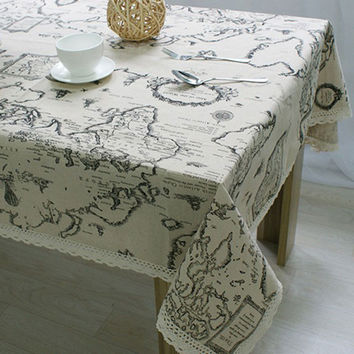 USPIRIT Table Cloth World Map High Quality Lace Tablecloth Decorative Elegant Table Cloth Linen Table Cover HH1534