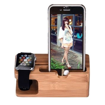 Bamboo Charger Dock Stand Holder For Apple Watch Phone For iWatch For iPhone