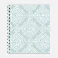 Intricate Medallions Notebook, Waterproof Cover, Journal, Moroccan Tiles Notebook, Mint, Periwinkle, School Supplies, College Ruled