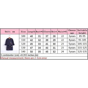 Girls winter clothing set long sleeve shirt with ball with pencil skirt pink and blue color fashion clothes set children