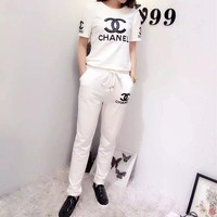"""Fashion Casual """"CHANEL"""" Letter Print Round Neck Short Sleeve Set Two-Piece Sportswear"""