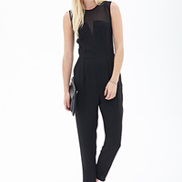 FOREVER 21 Chiffon-Trimmed Jumpsuit Black