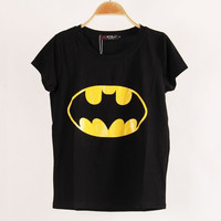 2015 New Fashion Women T-shirts printed Batman short sleeve t shirts Stretch Cotton tees Modal tops blouse S/M/L = 1927993732