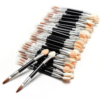 New 50 Pcs Applicator Double-Ended Cosmetic Brushes Women Makeup Eyeshadow Eyeliner Sponge Lip Brush Set Disposable