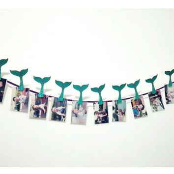 13pcs/set Newborn 1-12 Month Baby Photo Banner With Clip Mermaid Party Decor Baby Shower 1st Birthday Party Supplies