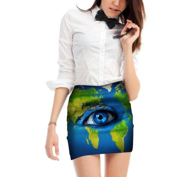 Eye World Map Women's Skirt Mini Pencil Tube Skirt