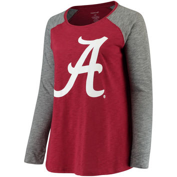 Women's Crimson/Charcoal Alabama Crimson Tide Plus Size Preppy Elbow Patch Slub Long Sleeve T-Shirt