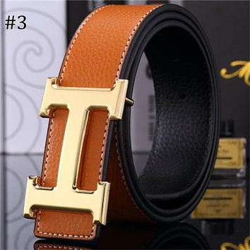 Hermes trend versatile simple H buckle casual men and women smooth buckle belt #3